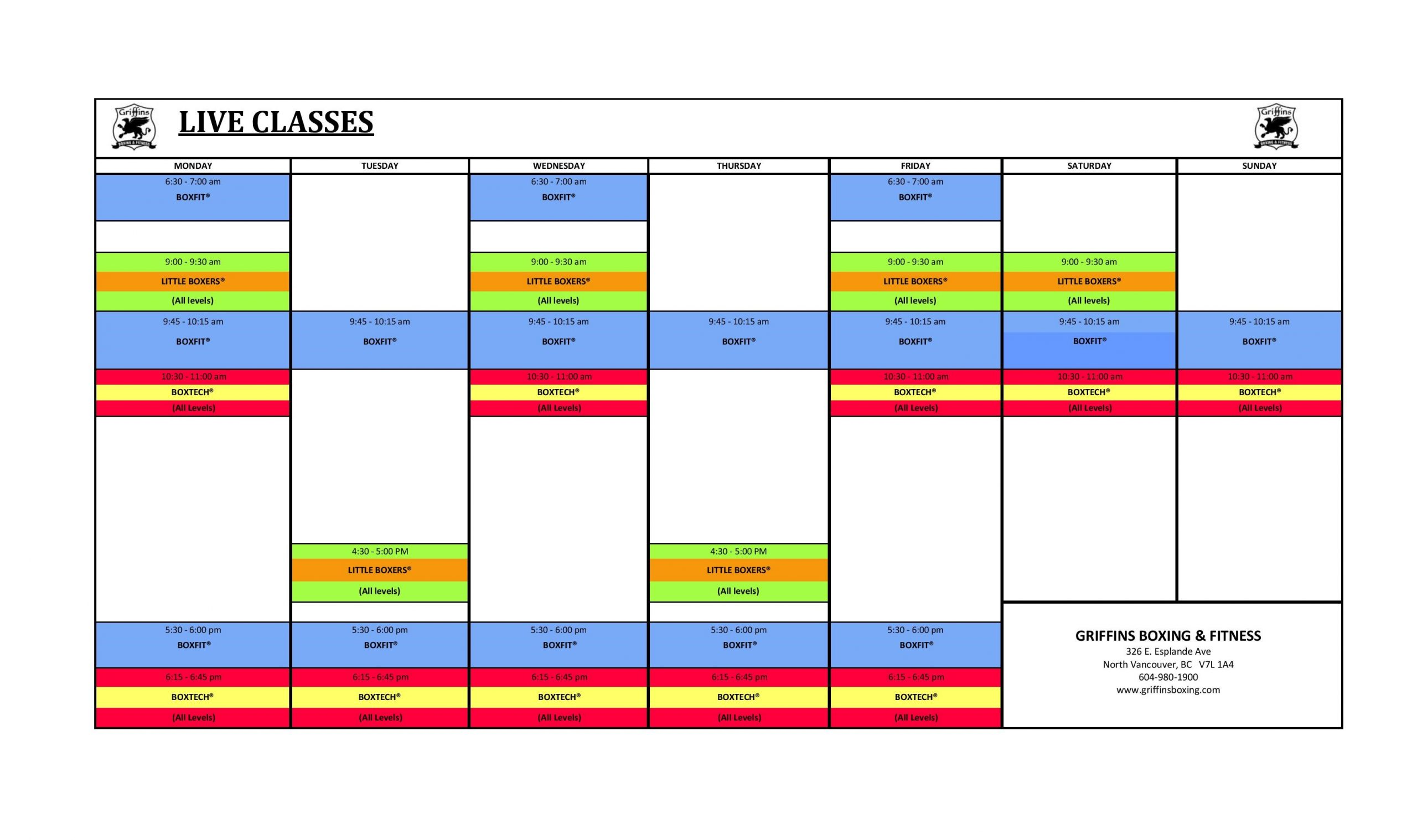 New Live Classes Schedule