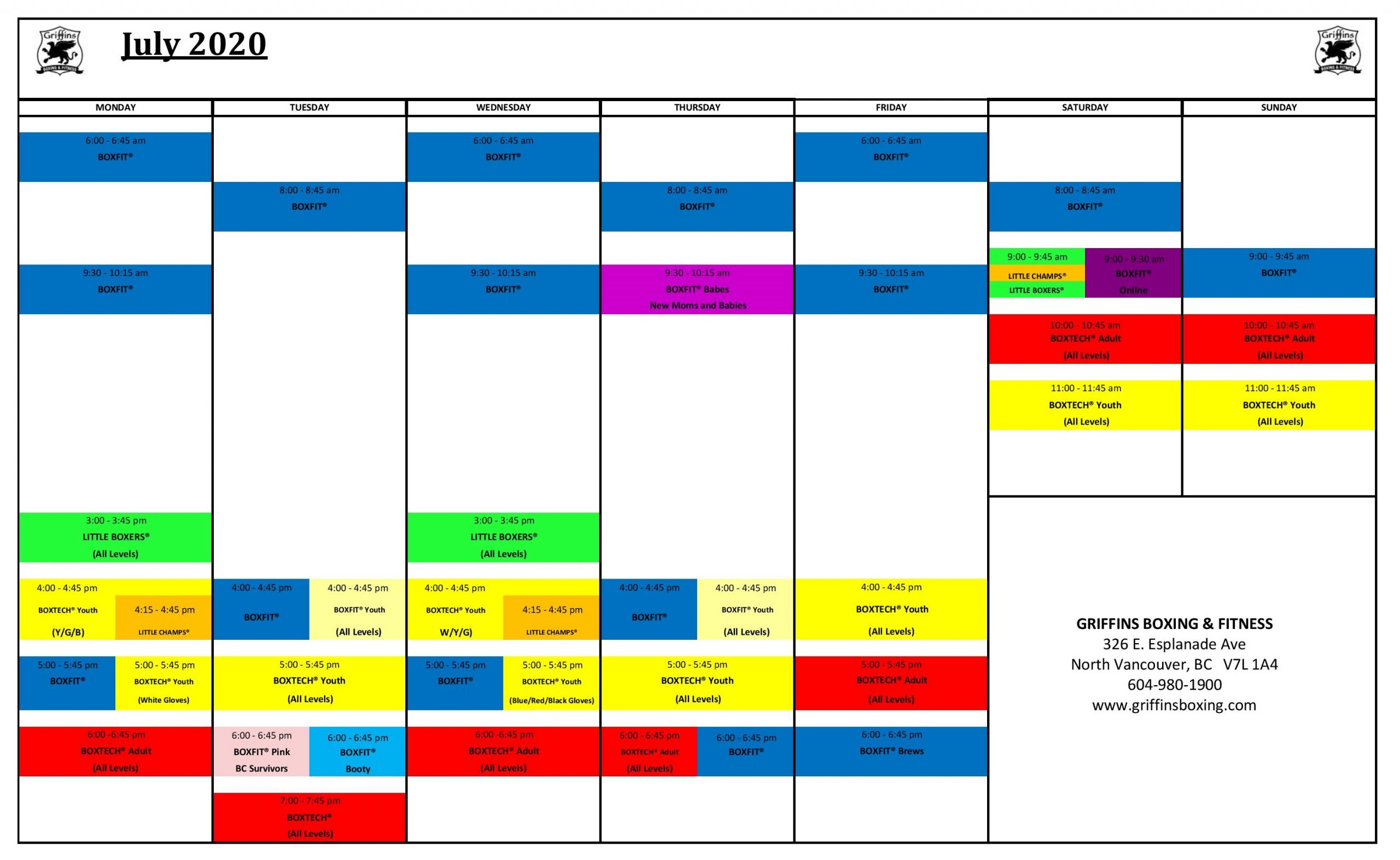 July'20 Schedule At Fitness Gym in Vancouver BC